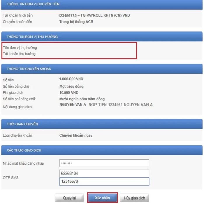 xác nhân chuyển tiền internet banking
