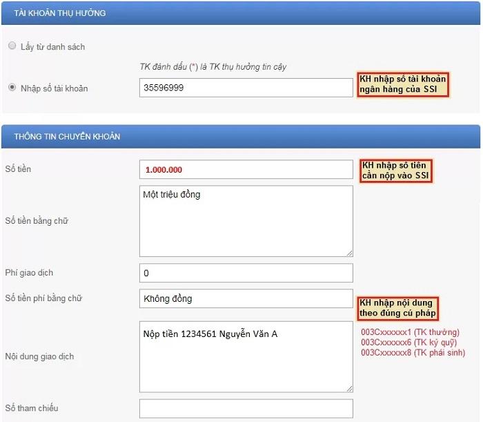 hướng dẫn chuyển tiền internet banking