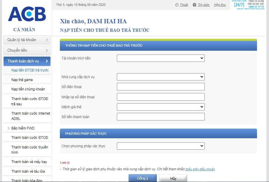 cách thanh toán dịch vụ bằng ACB Online Banking
