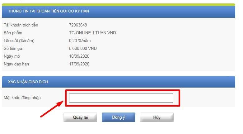 gửi tiền tiết kiệm ACB Online Banking