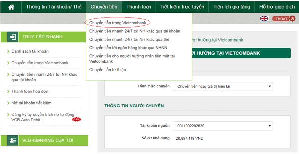 chuyển tiên Internet Banking Vietcombank