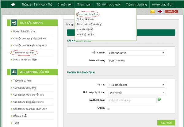 thanh toán hóa đơn Internet Banking VCB