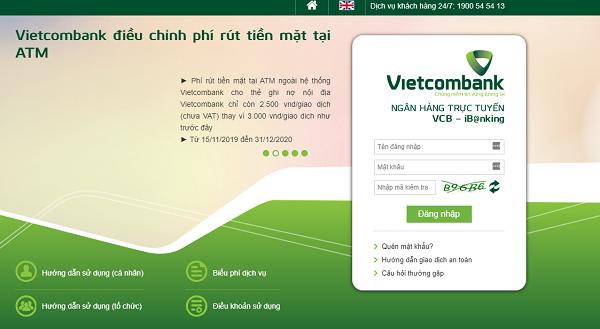 đăng nhập Internet Banking VCB